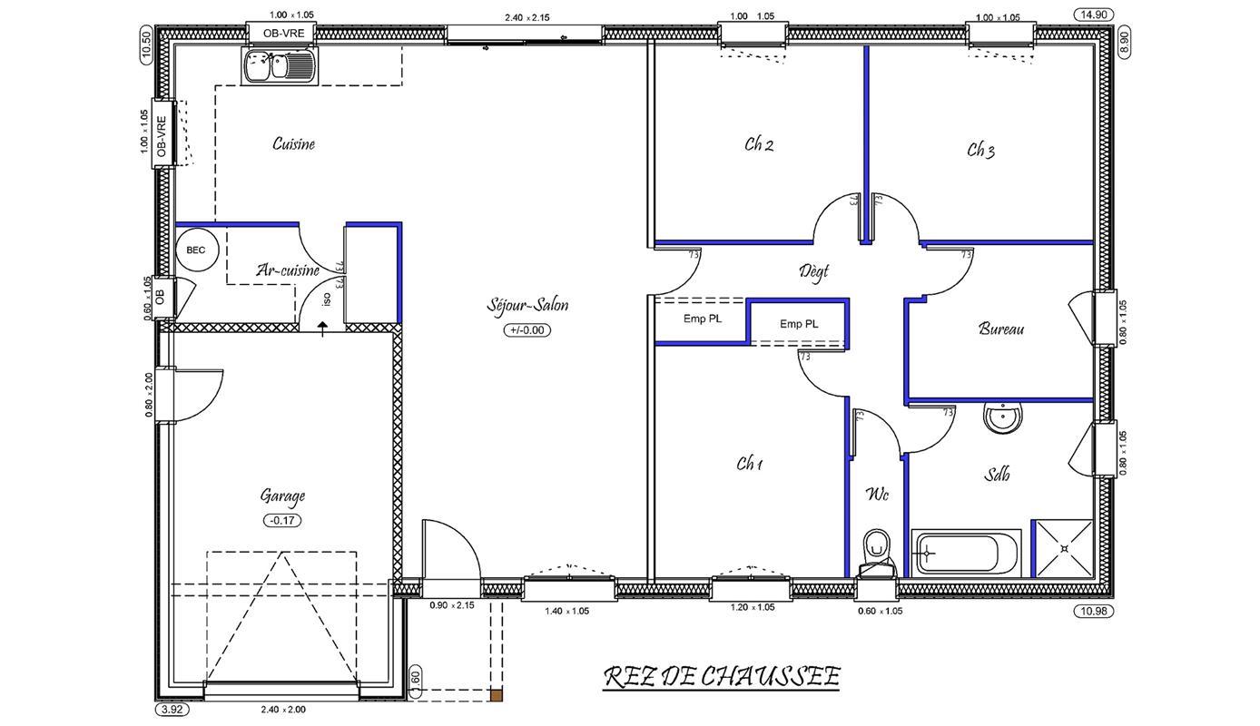 plan de maison f4
