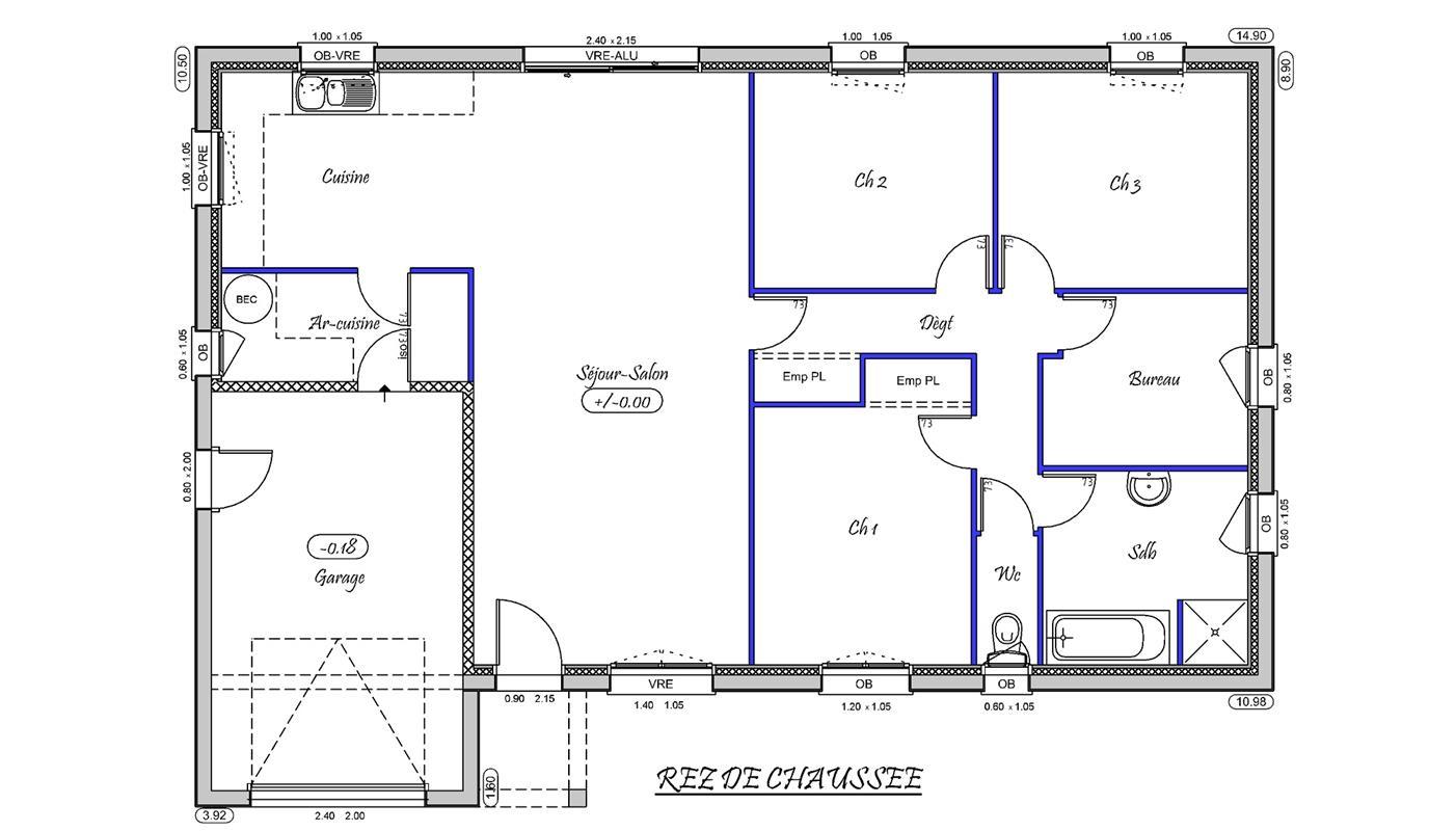Tina 100 m type f5 nos mod les de maisons neuves en for Plan type de maison