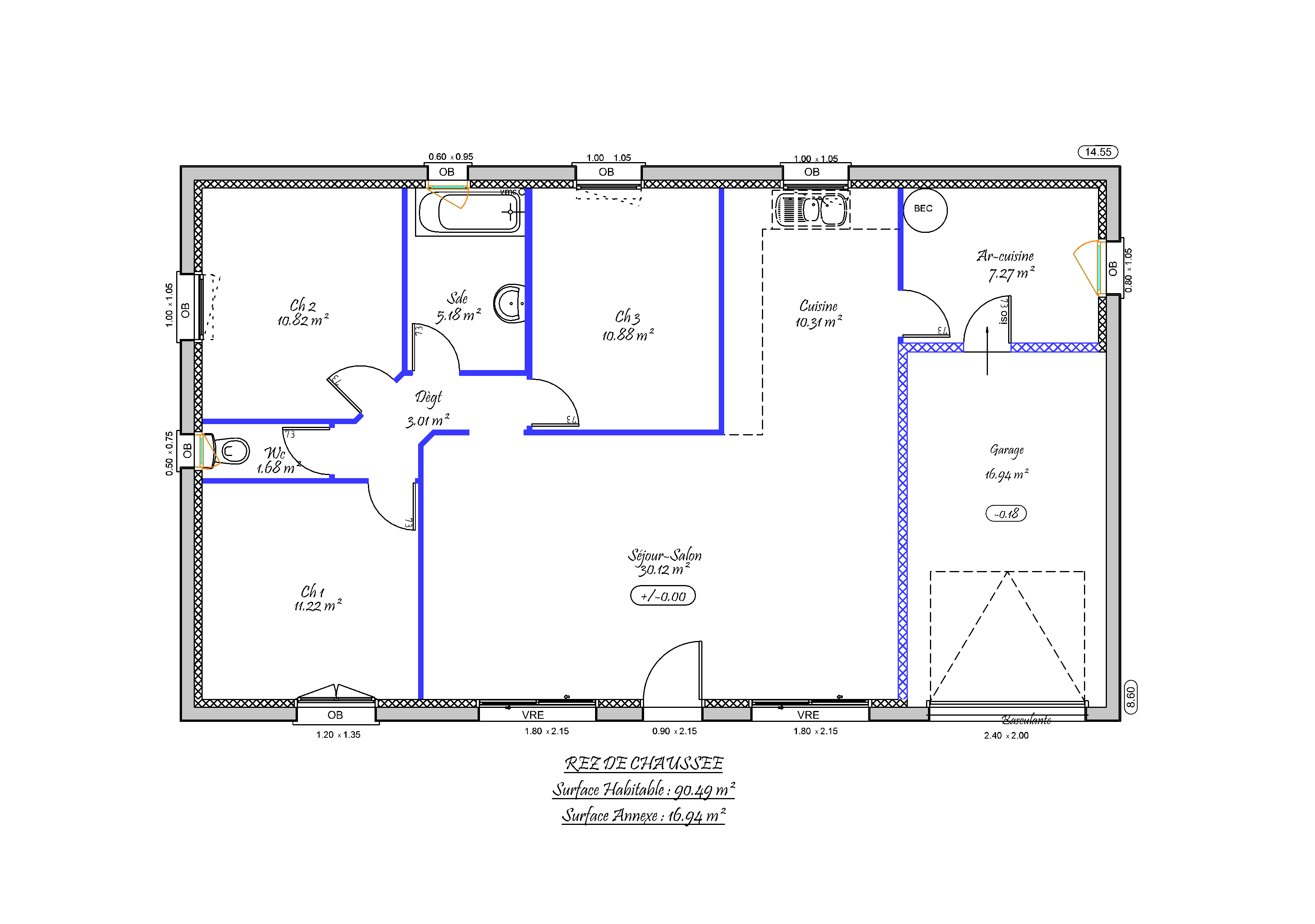 Plan maison f4 for Plan maison 3 faces
