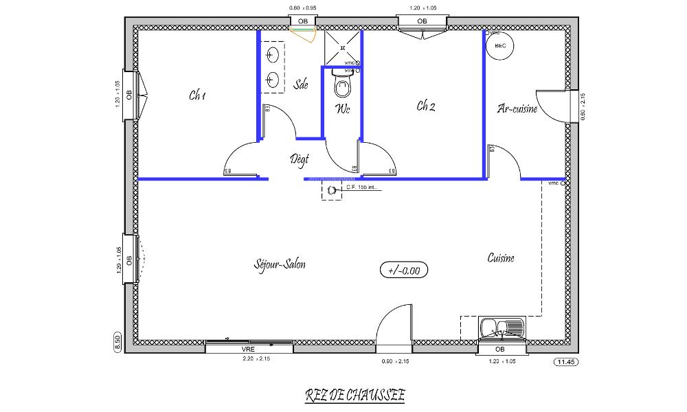 marine 82 m type f4 nos mod les de maisons neuves. Black Bedroom Furniture Sets. Home Design Ideas