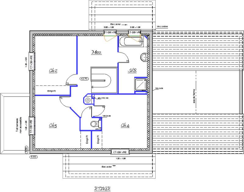 Vue en plan de létage 3 grandes chambres et une mezzanine