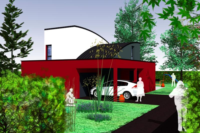 Maison à étage contemporaine et originale projet à létude perspective depuis
