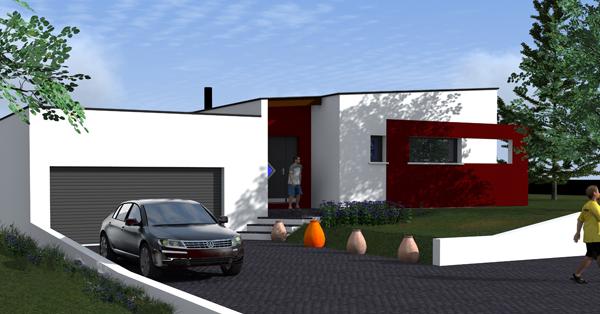 style de maison moderne plain pied. Black Bedroom Furniture Sets. Home Design Ideas