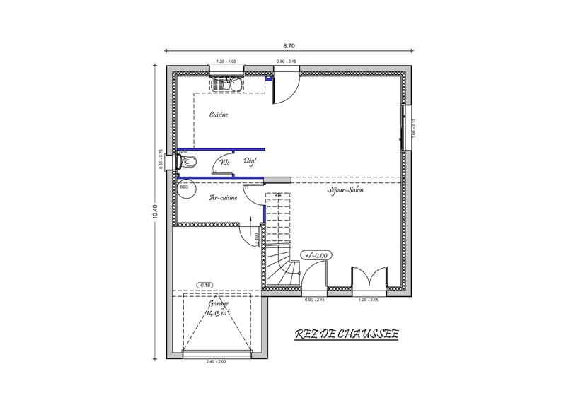plan maison etage garage integre
