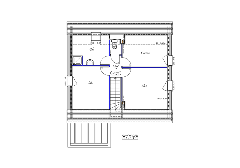 SELUNE CONSTRUCTION-Modele-CLARA-Type 4 pieces-Plan Etage