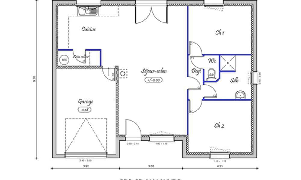 prima 72 m type f3 catalogue constructeur maison neuve traditionnelle en bretagne. Black Bedroom Furniture Sets. Home Design Ideas