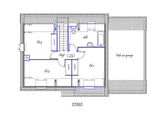 Vue en plan de létage 3 chambres et une grande salle de bain